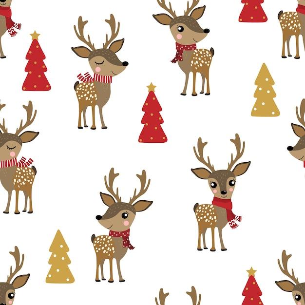 Cute deer in winter costume seamless pattern Premium Vector