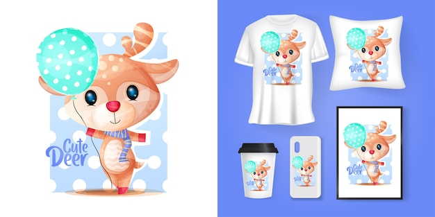 Cute deer with balloons cartoon and merchandising Premium Vector