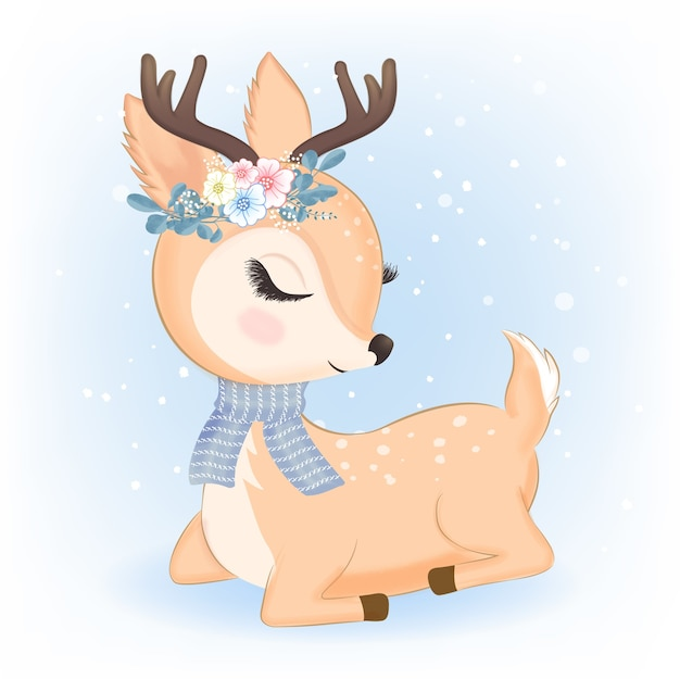 Cute deer with bouquet in christmas illustration Premium Vector