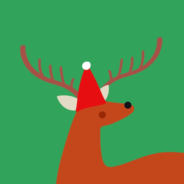 Cute deer with a christmas hat vector design Free Vector