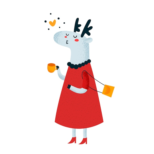 Cute deer with cup of coffee Premium Vector