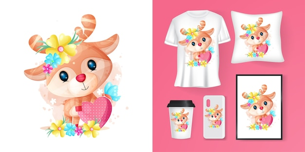 Cute deer with heart cartoon and merchandising Premium Vector