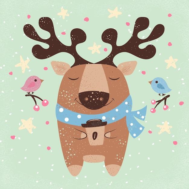 Cute deer with hot coffee cartoon illustration Premium Vector