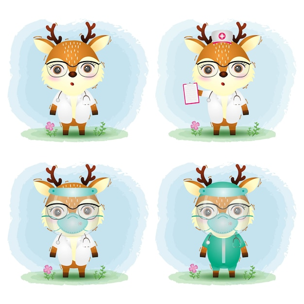 Cute deer with medical staff team doctor and nurse costume collection Premium Vector