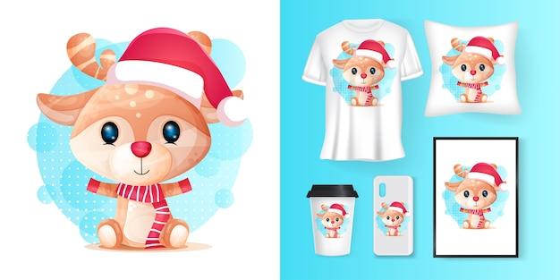 Cute deer with santa custom and merchandising Premium Vector