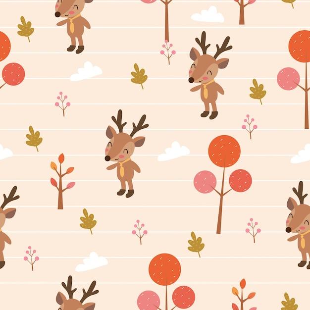 Cute deer in woodlands seameless pattern Premium Vector