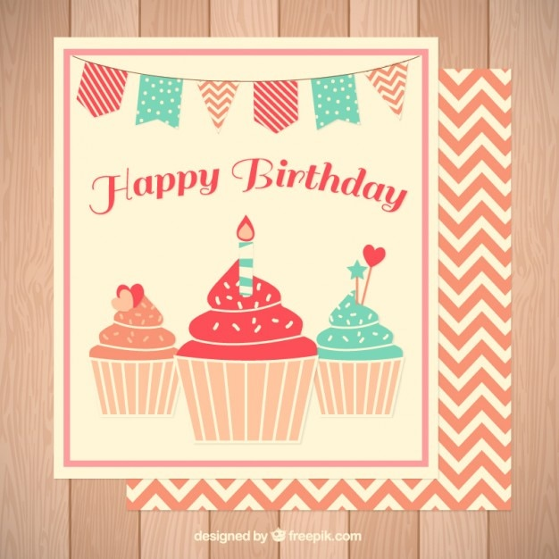 Cute Delicious Cupcakes Birthday Card Stock Images Page Everypixel