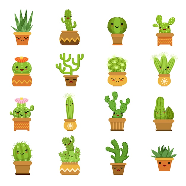 Cute desert plants Premium Vector