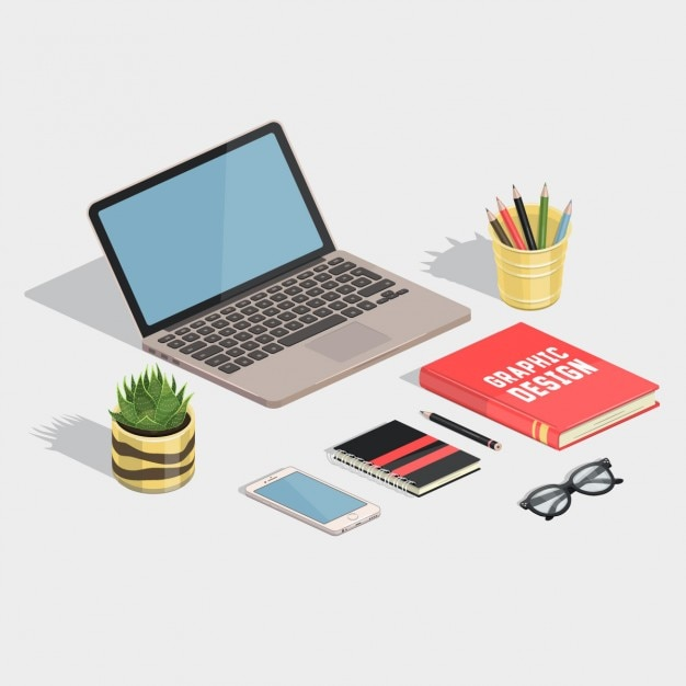 cute designer workspace free vector