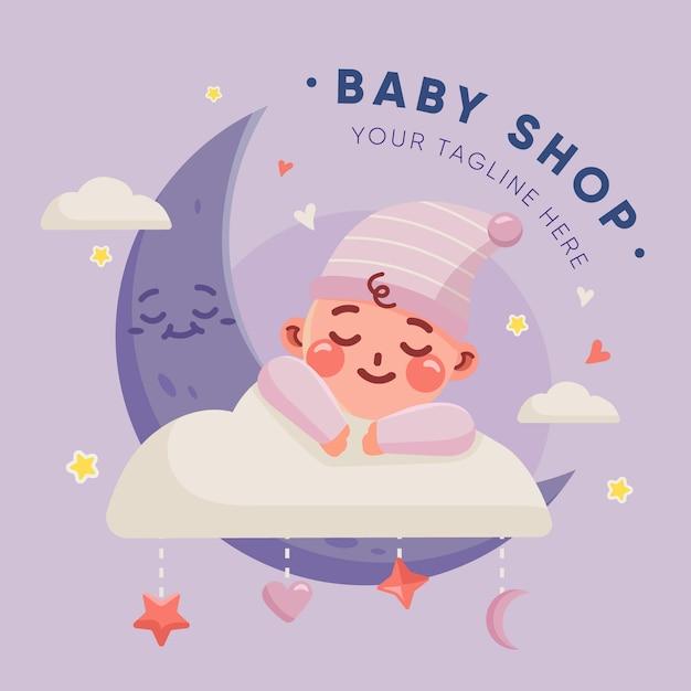 귀여운 세부 아기 로고 무료 벡터