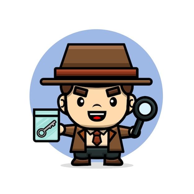 Милый детектив с подсказкой и увеличительным стеклом Premium векторы