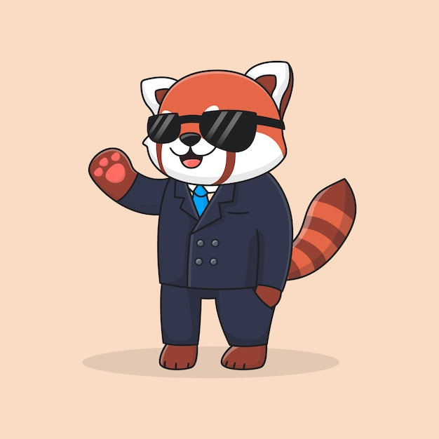 スーツと眼鏡を身に着けているかわいい探偵レッサーパンダ Premiumベクター