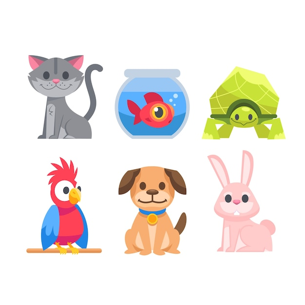 Cute different pets concept Free Vector