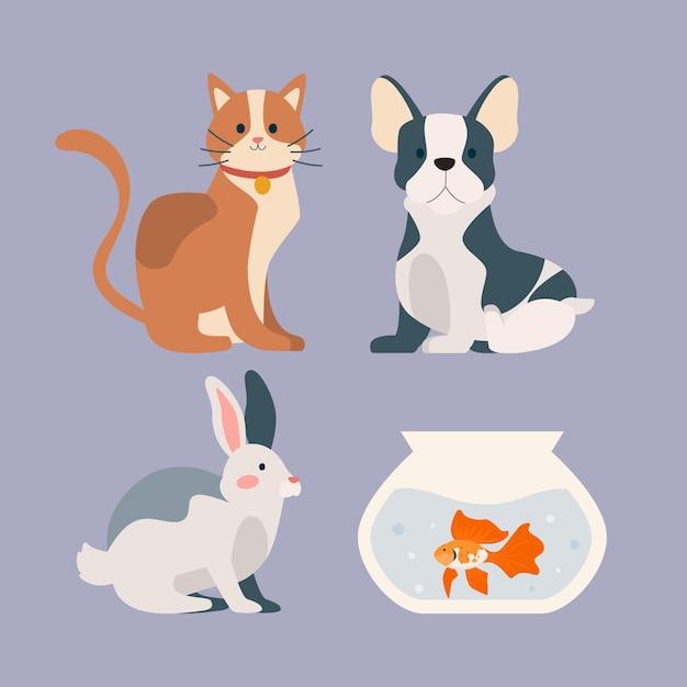 Симпатичные разные домашние животные Бесплатные векторы