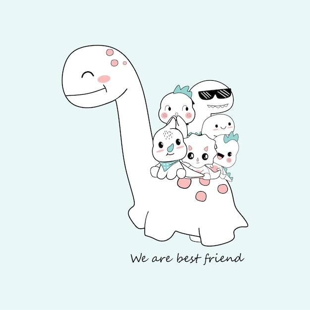Cute dino cartoons that are be best friend Premium Vector