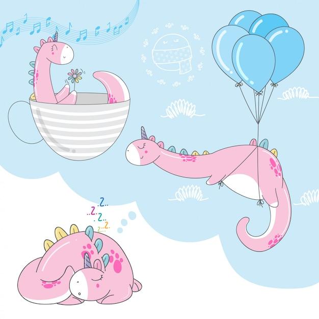 Cute dino cartoons Premium Vector