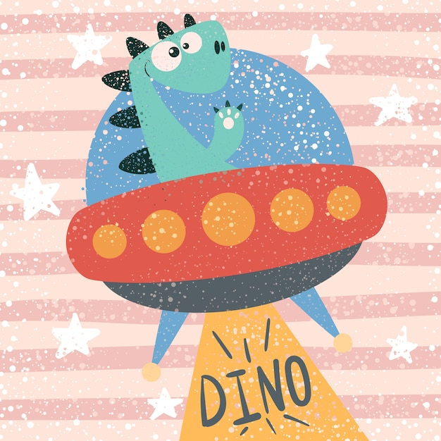 Cute dino character. ufo illustration. Premium Vector