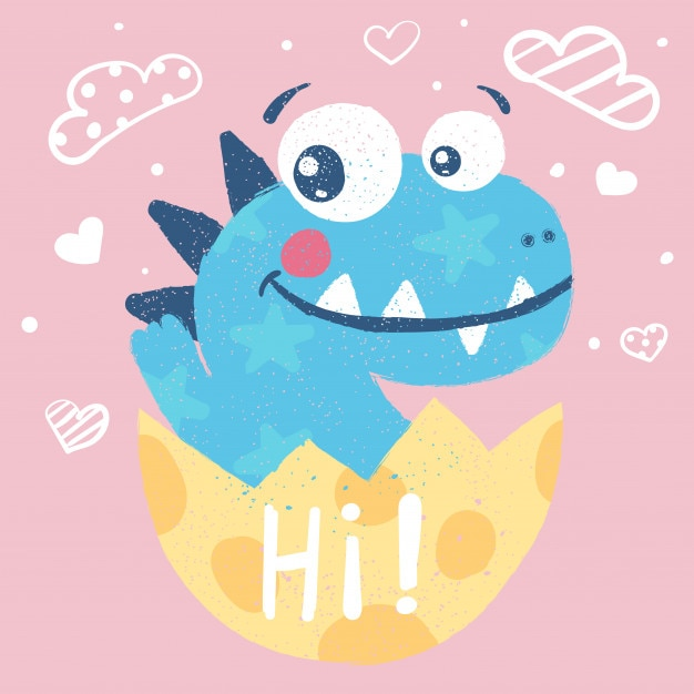 Cute dino, dinosaur illustration Premium Vector
