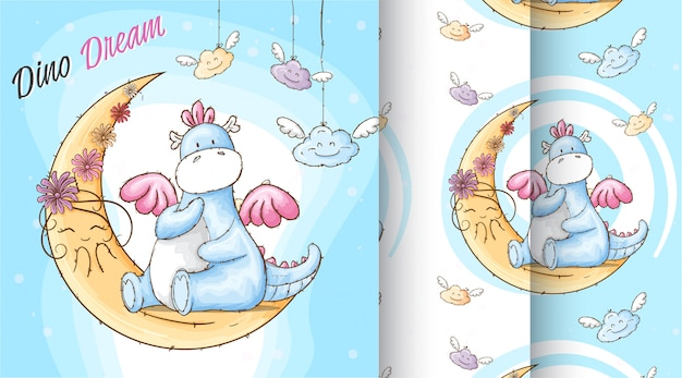 Cute dino dream pattern illustration Premium Vector