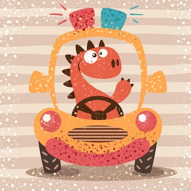 Cute dino drive funny car Premium Vector
