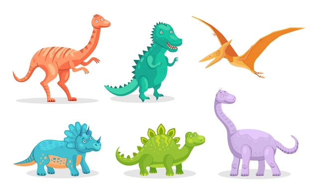 Cute dino flat icon set Free Vector
