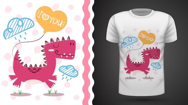 Cute dino - idea for print t-shirt Premium Vector