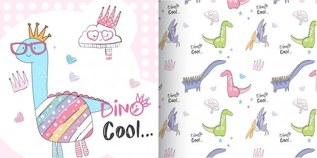 Cute dino pattern set, hand draw illustration-vector Premium Vector