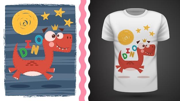 Cute dino for print t-shirt Premium Vector