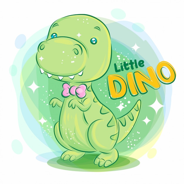 Cute dino smile with pink ribbon on the neck. colorful cartoon illustration. Premium Vector