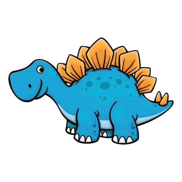 Cute Dino Stegosaurus Cartoon Vector Illustration Vector