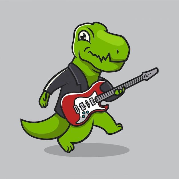 Cute dino t rex urban culture mascot design Premium Vector