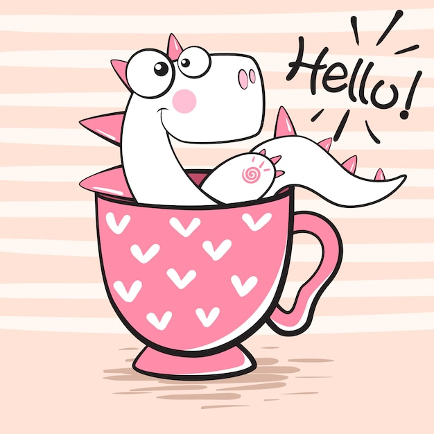Cute dino with cup of tea Premium Vector
