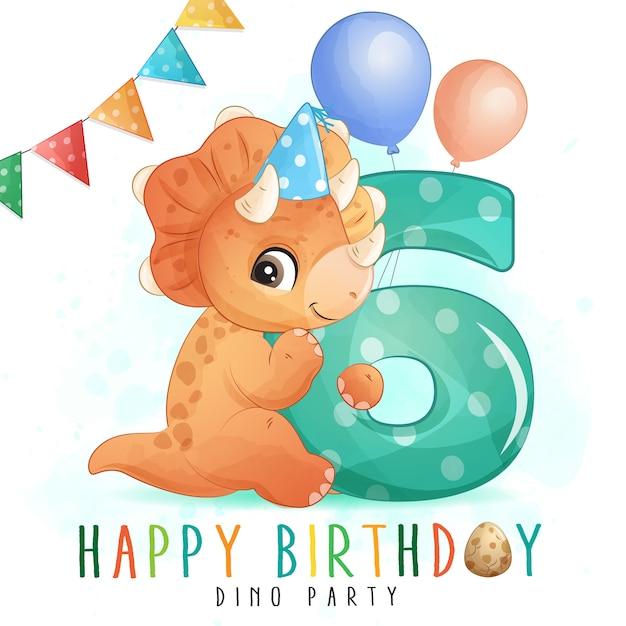 番号のイラストがかわいい恐竜の誕生日パーティー Premiumベクター