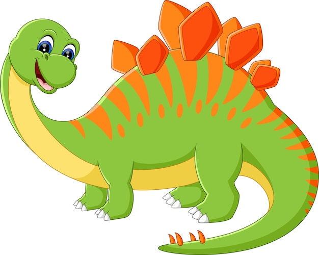 Cute dinosaur cartoon Premium Vector