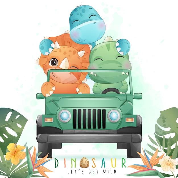 水彩イラストが付いている車を運転してかわいい恐竜 Premiumベクター