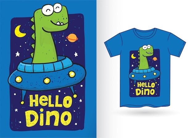 Cute dinosaur hand drawn for t shirt Premium Vector