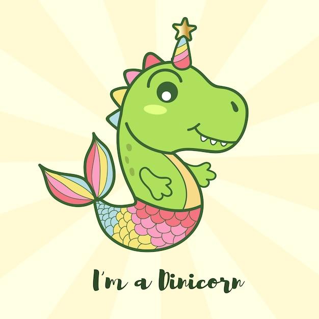 Cute dinosaur mermaid unicorn logo Premium Vector