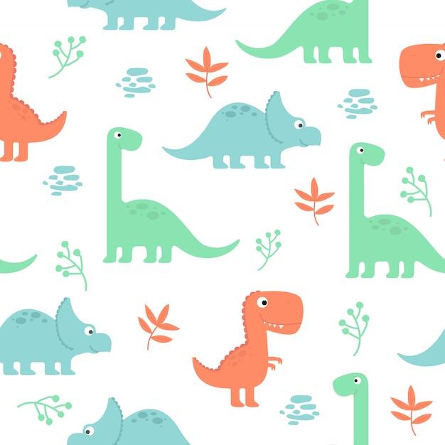 Cute dinosaur seamless pattern for wallpaper Vector ...