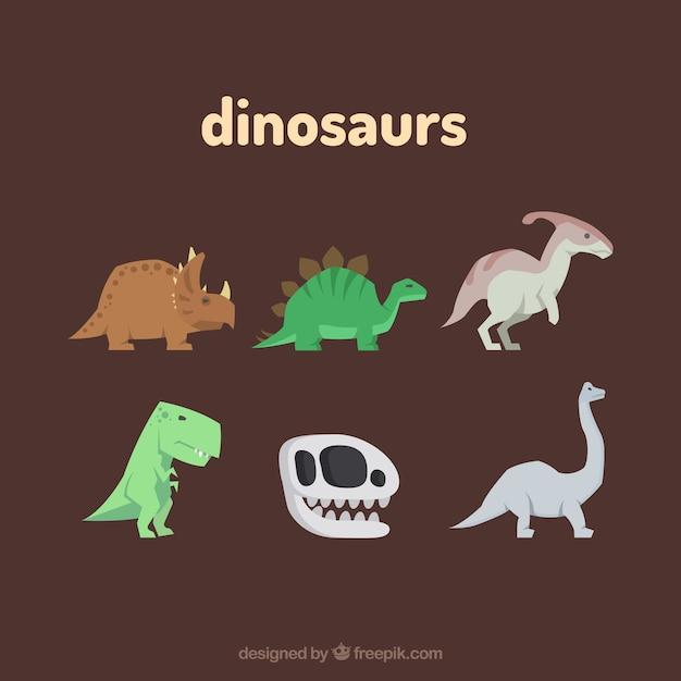 Cute dinosaur set Free Vector