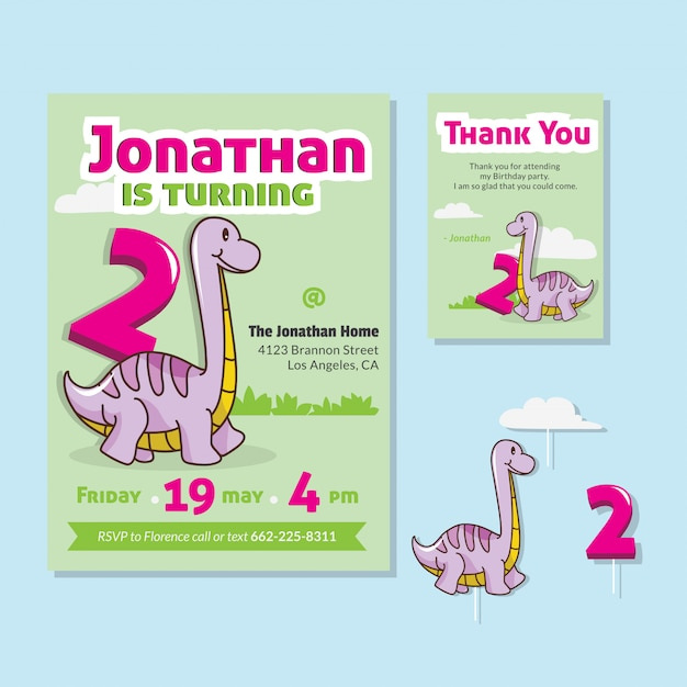 Cute Dinosaur Theme 2nd Birthday Party Invitation Card