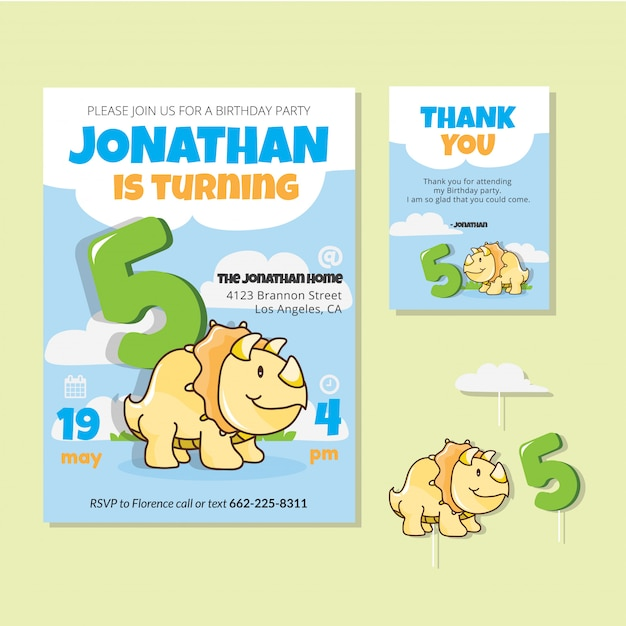 Cute dinosaur theme 5th birthday party invitation card vector cute dinosaur theme 5th birthday party invitation card premium vector filmwisefo