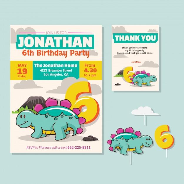 Cute Dinosaur Theme 6th Birthday Party Invitation Card Premium Vector