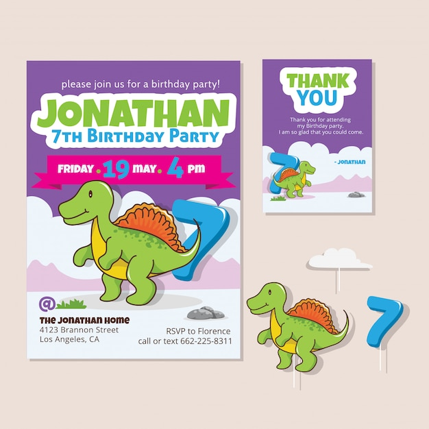 Cute Dinosaur Theme 7th Birthday Party Invitation Card