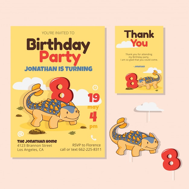 Cute Dinosaur Theme 8th Birthday Party Invitation Card