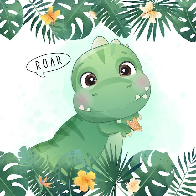 수채화 일러스트와 함께 귀여운 공룡 프리미엄 벡터