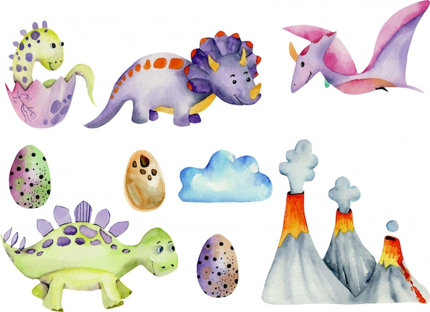 Cute dinosaurs collection watercolor illustration Premium Vector