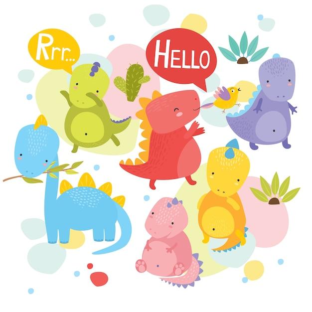 Cute dinosaurs Free Vector