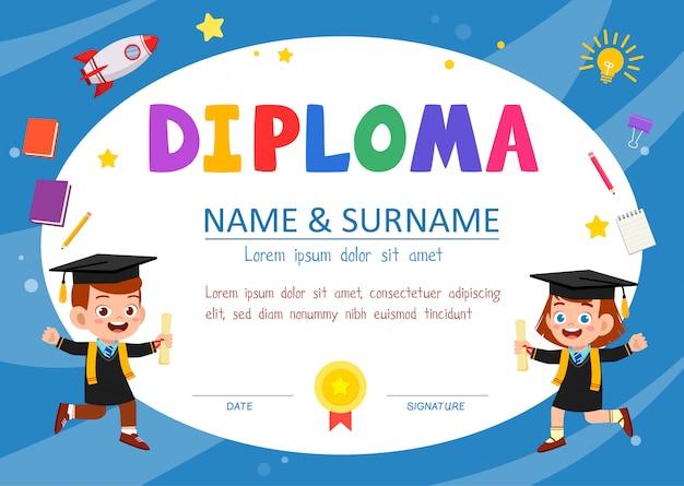 Cute diploma certificate template for school student Premium Vector