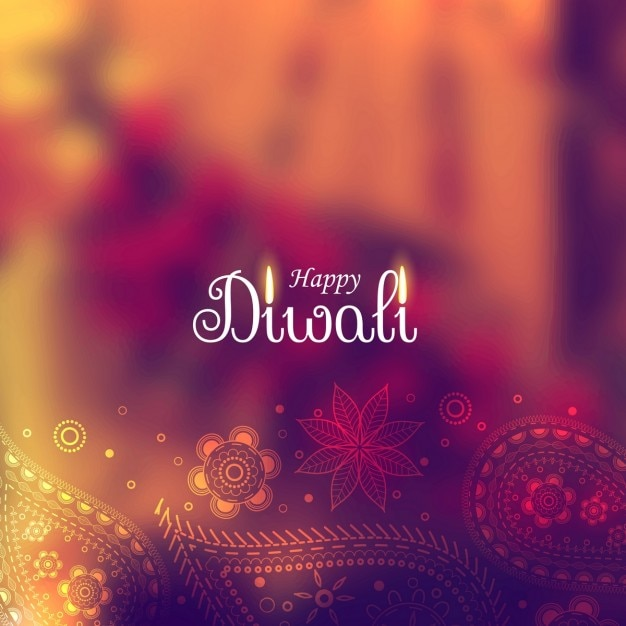 Cute diwali background with paisley elements Free Vector
