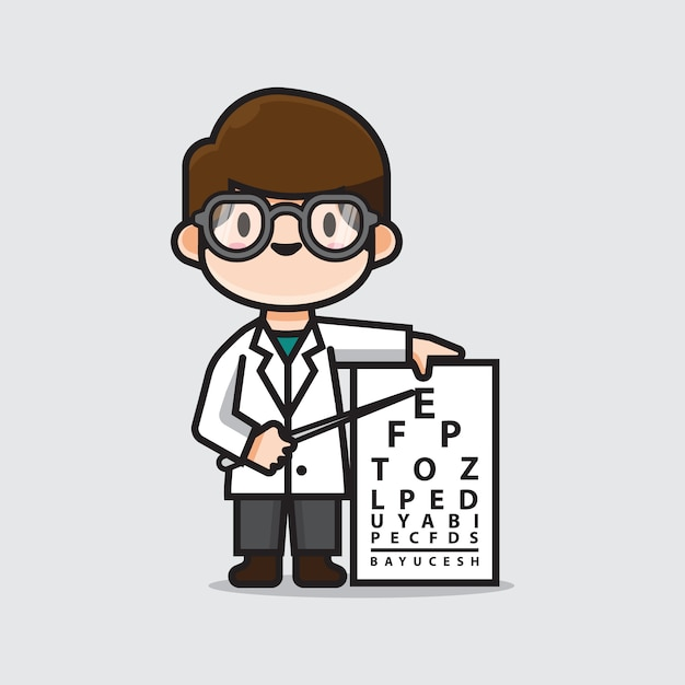 Cute doctor ophthalmologists Premium Vector